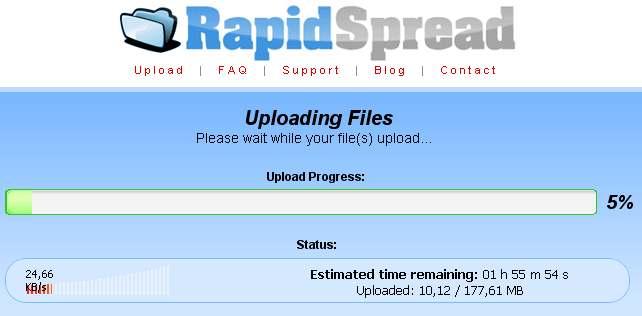 rapidspread sube archivos a multiples servidores