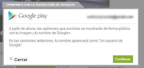Los comentarios en Google Play se vincularán a tu perfil de Google+
