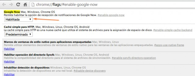 Activar Google Now en Chrome