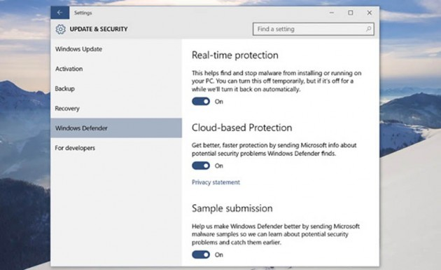 Ajustes Windows Defender