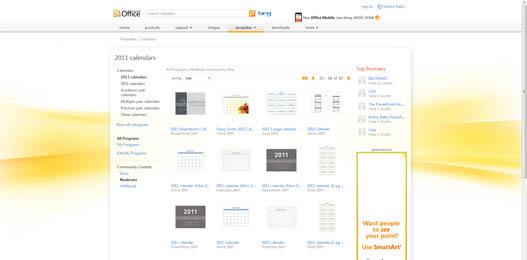 Calendarios 2011 para Office