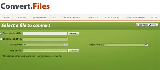Convertir ficheros entre varios formatos online.