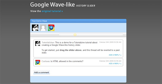 Efecto historial de Google Wave History con Slider jQuery