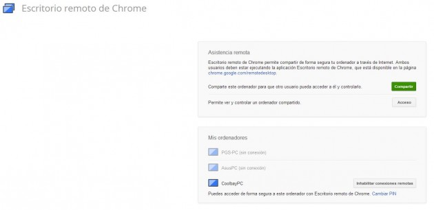Escritorio remoto de Google Chrome