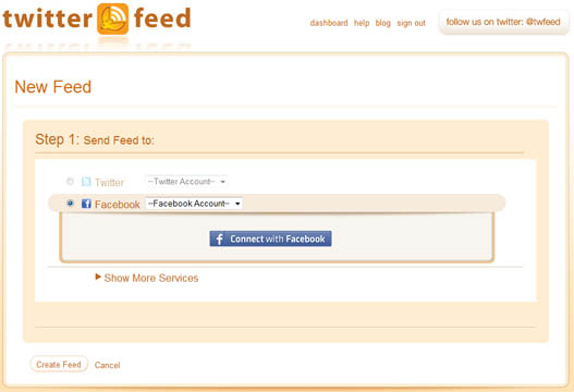 Publicar el feed RSS del blog en Facebook