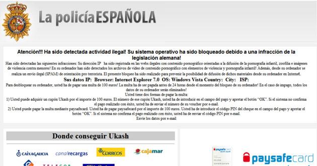 Falso mensaje de la policía española