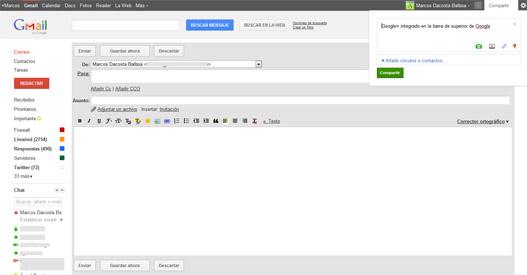 Gmail con la apariencia de Google+