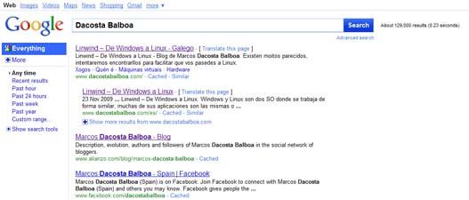 Posible nueva interfaz de Google