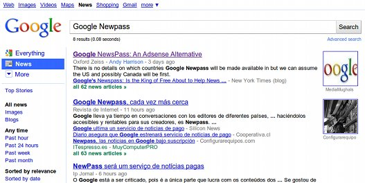 Un Google News de pago … ¿Newpass?