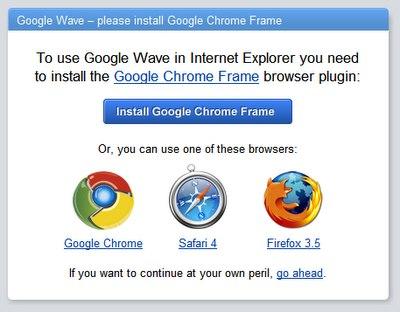 Chrome Frame plugin para IE necesario para Google Wave
