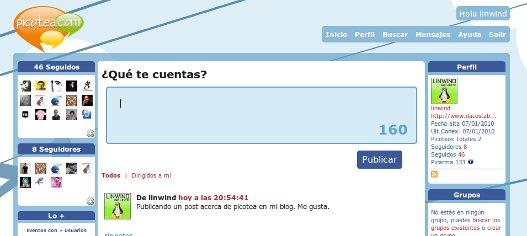 Picotea, microblogging con grupos y eventos.