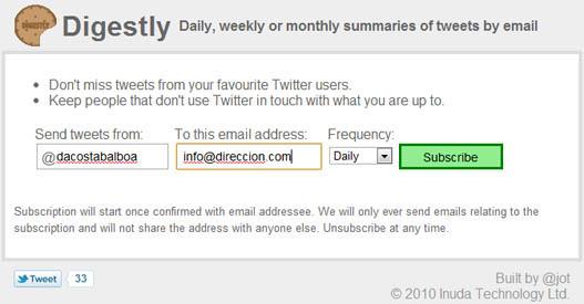Recibe las actualizaciones de Twitter por eMail