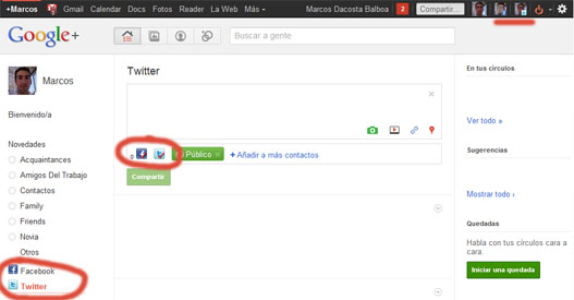 Start G, Facebook y Twitter en Google Plus