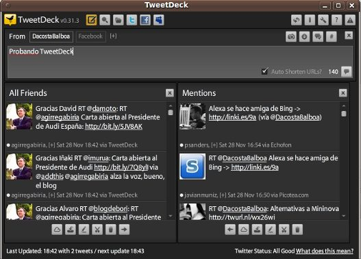 TweetDeck, cliente para Twitter y Facebook