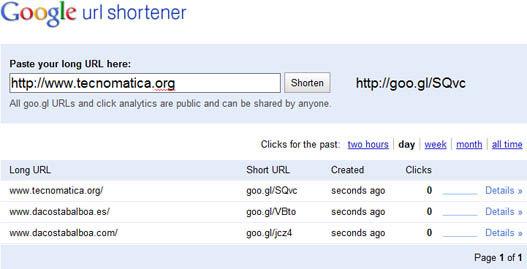 Acortador de urls de Google
