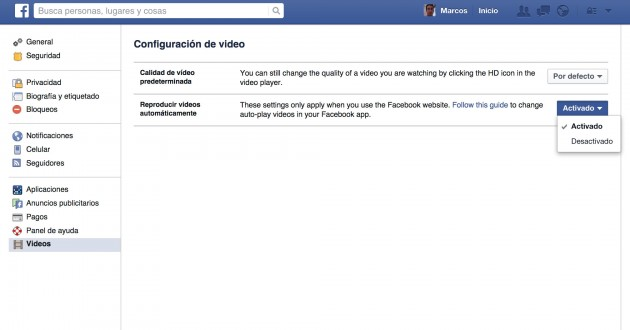 desactivar video facebook
