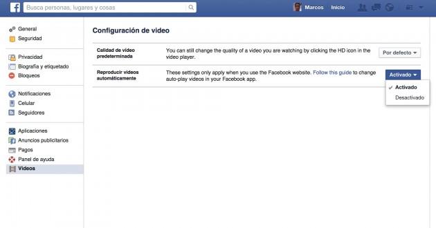 desactivar video facebook