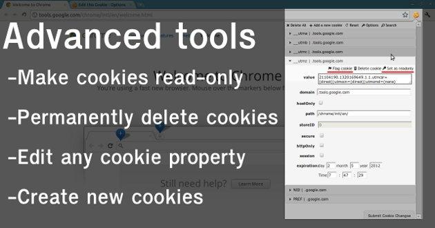 Guardar y editar Cookies