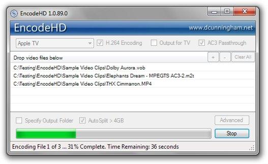 Conversor de vídeo sencillo, EncodeHD