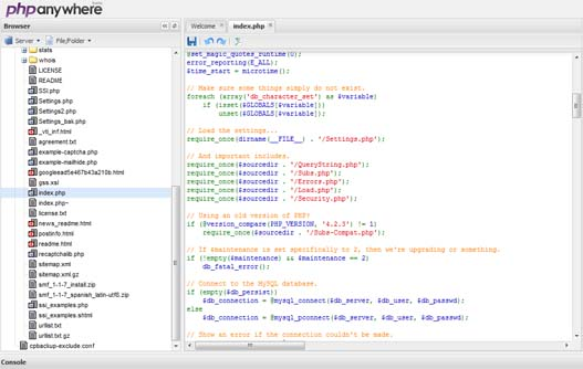FTP y editor de código en linea – PHPanywhere