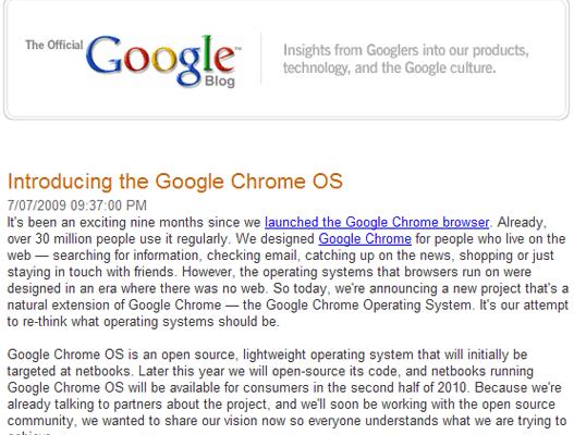 Anunciado Google Chrome OS, Microsoft comienza a temblar.