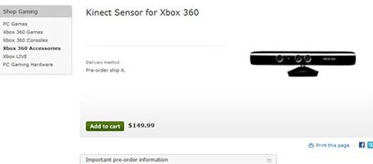 El precio de Kinect: 150 dólares