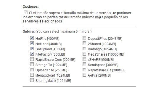 Sube un archivo a varios servidores a la vez.