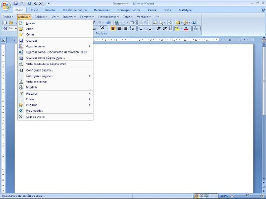 Menú clasico en Microsoft Office 2007