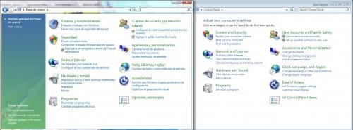 Panel de Control Windows Vista y 7