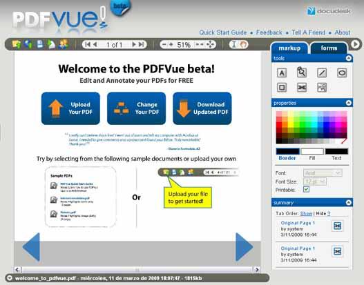 PDFVue te permite editar los PDF en linea.