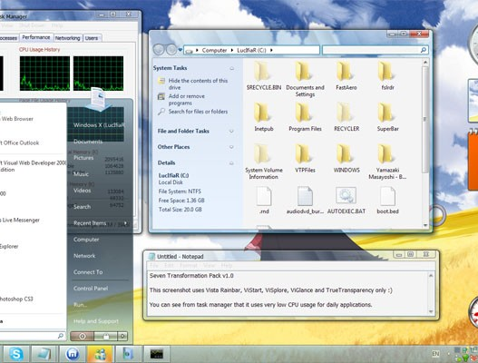 Seven Transformation Pack, Transformar Windows XP a Windows 7