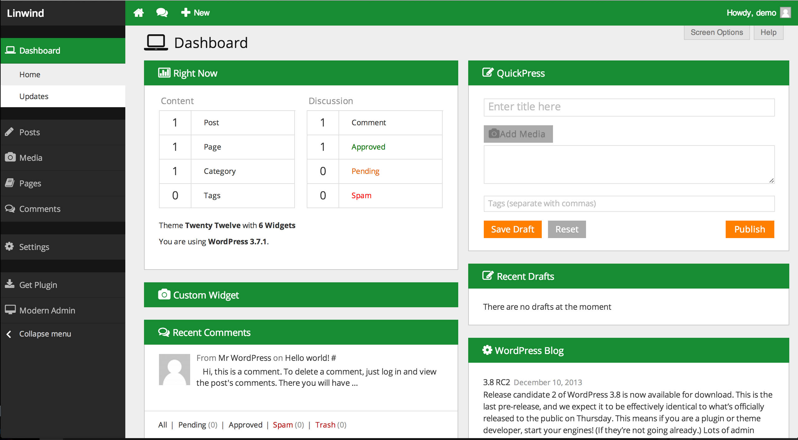 Themes Admin para Wordpress - Temas panel de administración gratis
