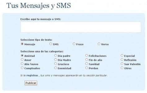 Añade tus mensajes, sms, frases y versos.