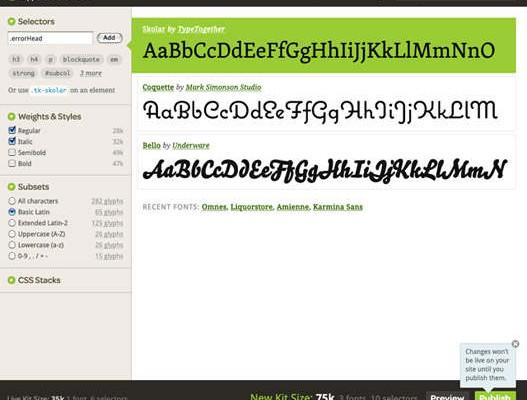 TypeKit – Usar cualquier tipo de fuente en una web.