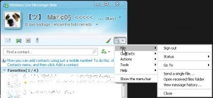 menu windows live messenger