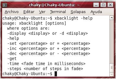 Brillo en Ubuntu